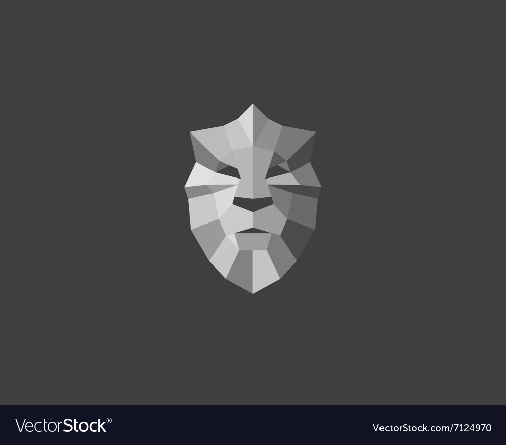 Lion shield crown logo design Art for poster vector image