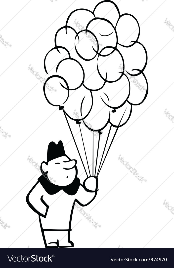 Man with a lot of balloons