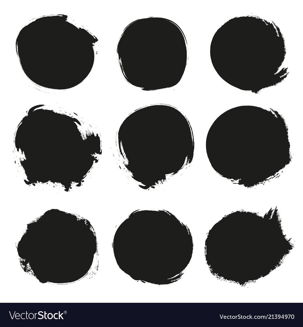 Set of black grunge circles