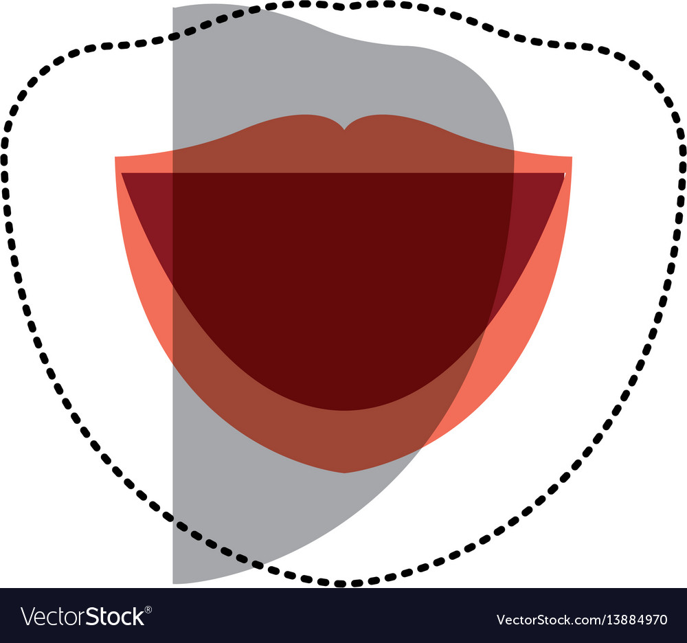 Sticker cartoon human female mouth with red lips vector image