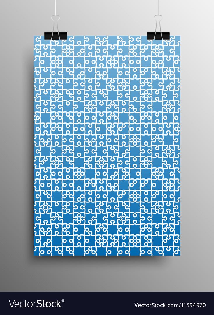 Vertical Poster A4 Puzzle Pieces Blue Puzzles