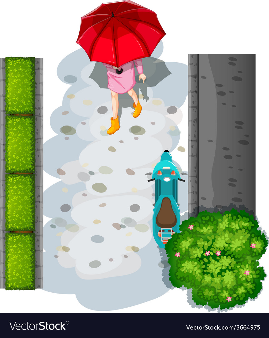 A topview of a woman with an umbrella