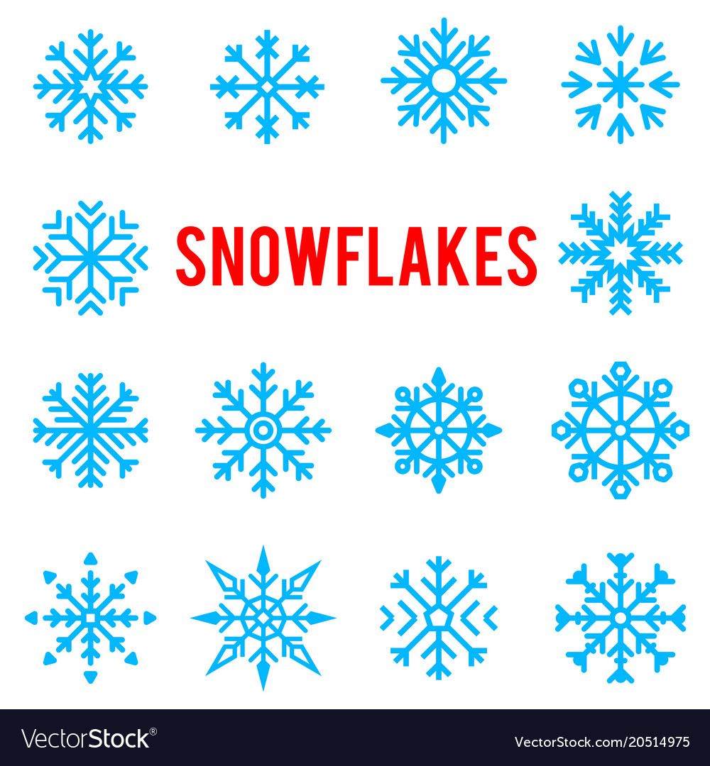 Beautiful patterned blue winter snowflakes