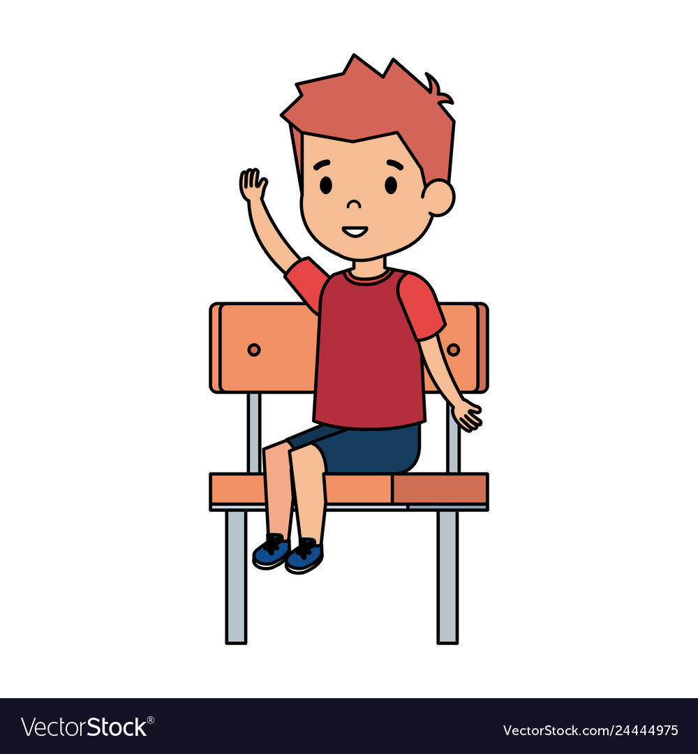 Super Cute Little Boy Sitting In Schoolchair Vector Image Gmtry Best Dining Table And Chair Ideas Images Gmtryco