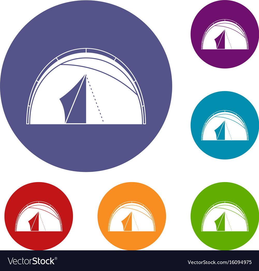 Dome tent icons set vector image