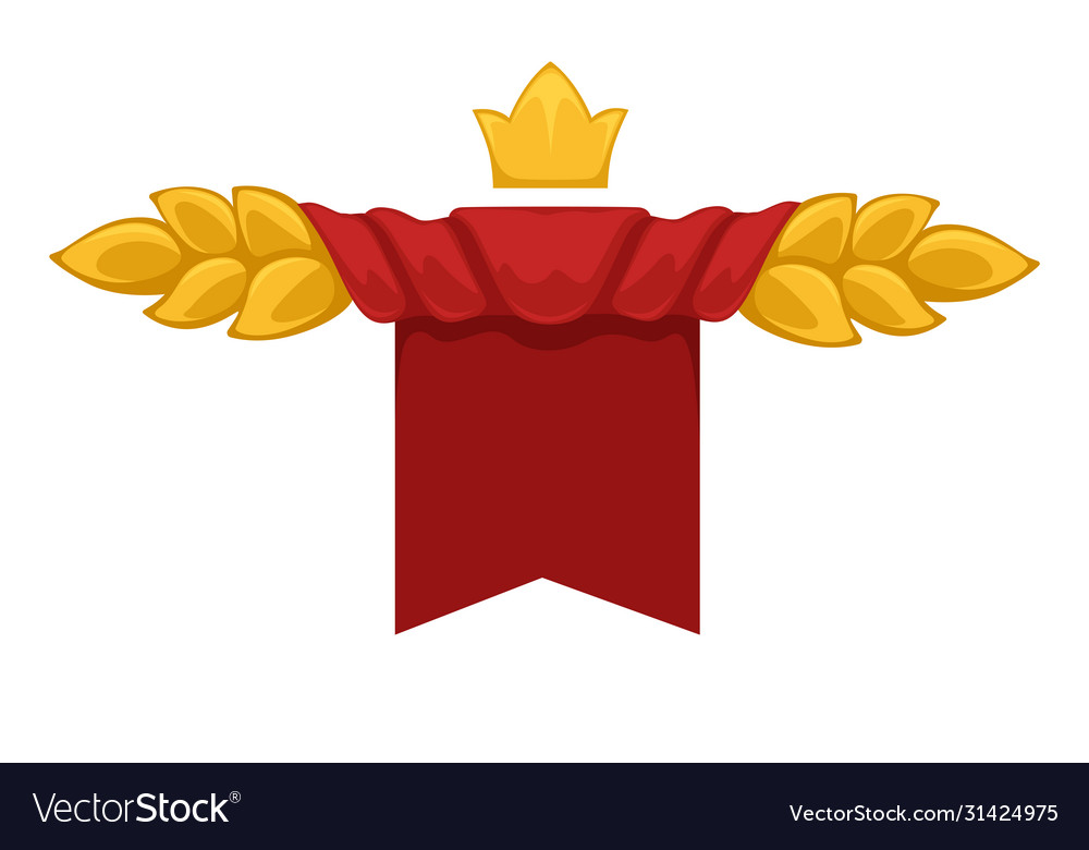 Empty banner with red curtain crown and leaves
