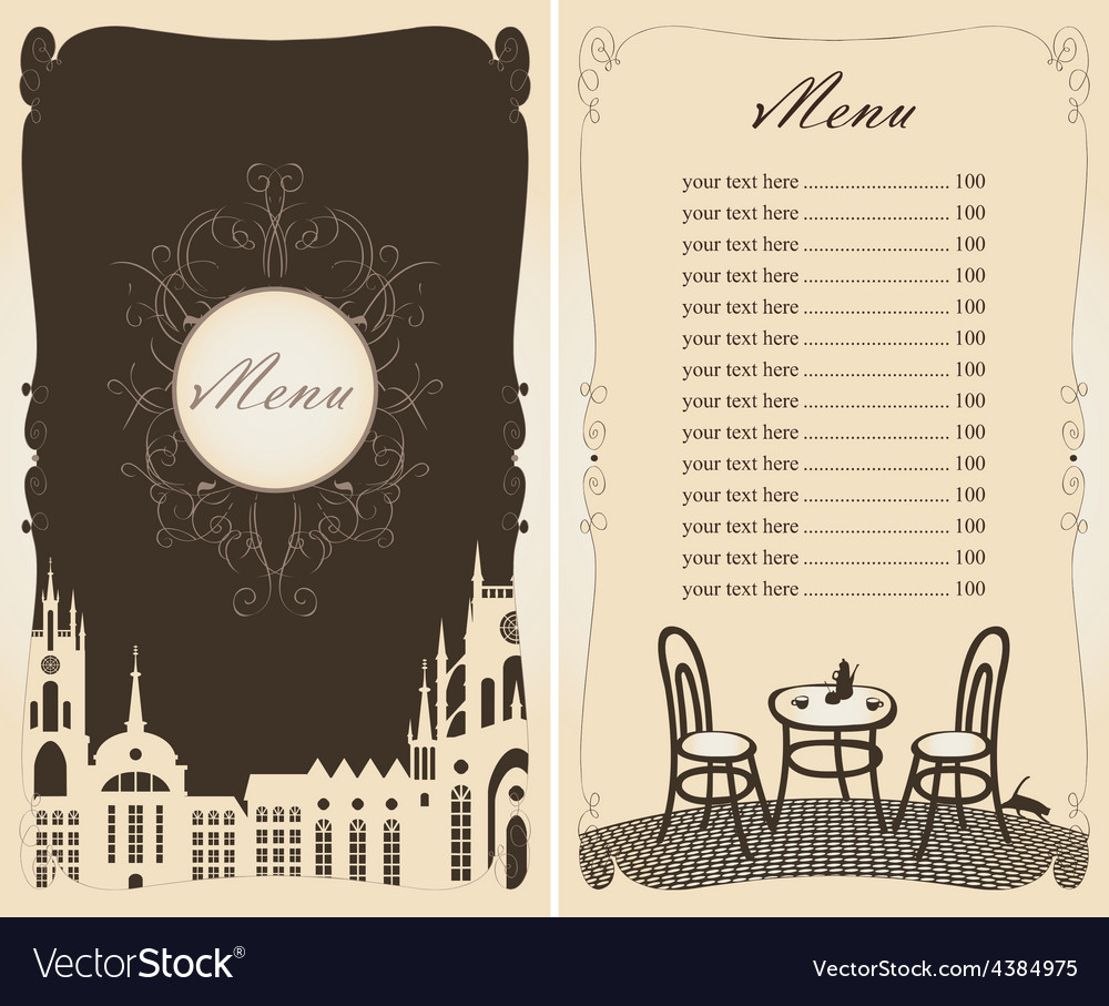Menu old town vector image