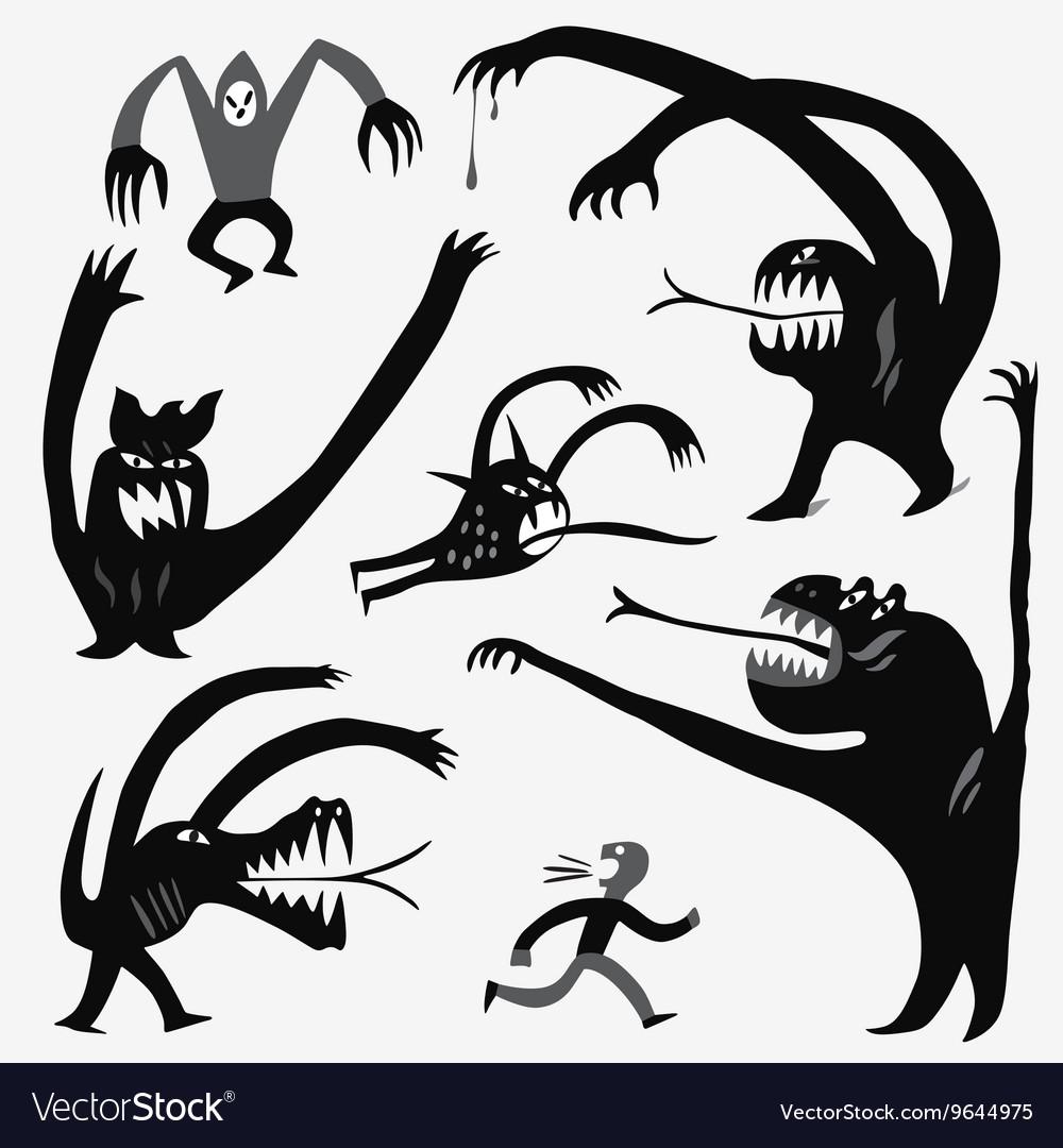 Monsters cartoons set