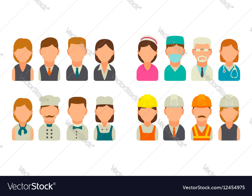 Set icon character cook builder business and