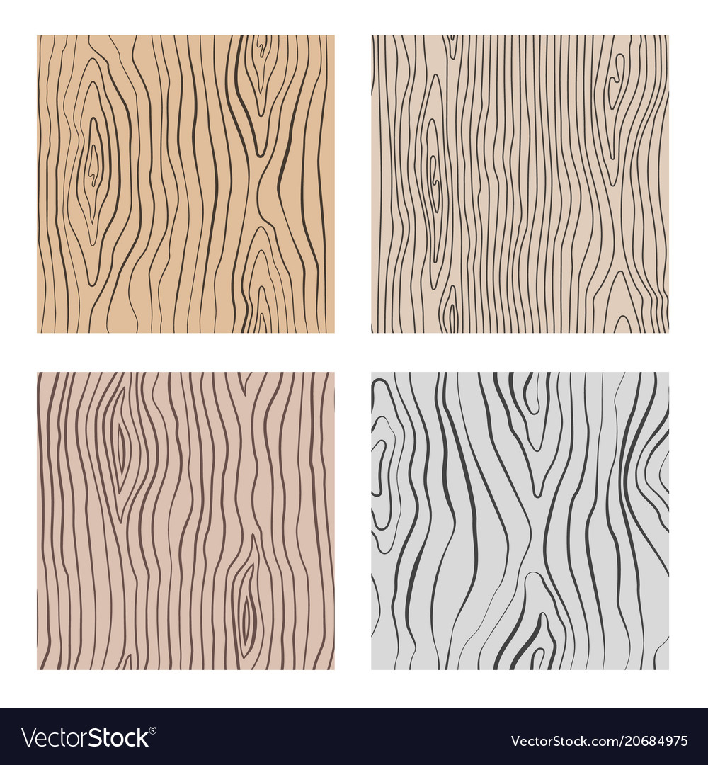 Wooden Seamless Patterns Set Wood Grain Royalty Free Vector