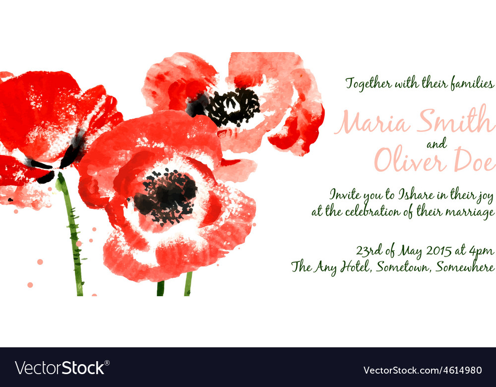 Background with red watercolor poppies