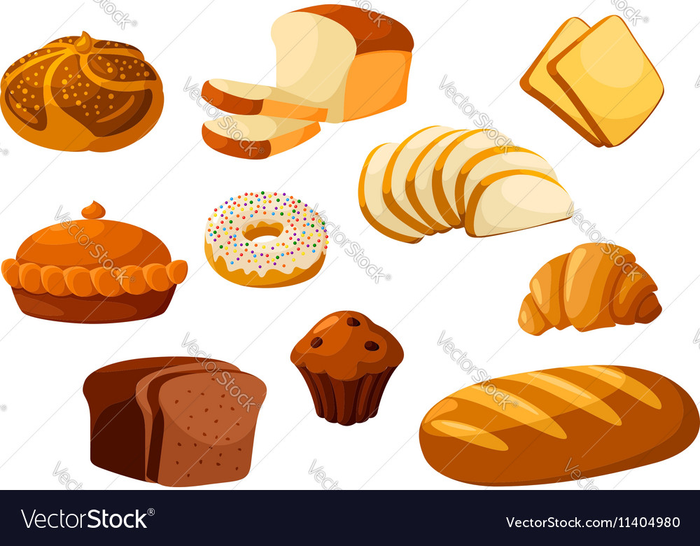 Bakery bread isolated icons