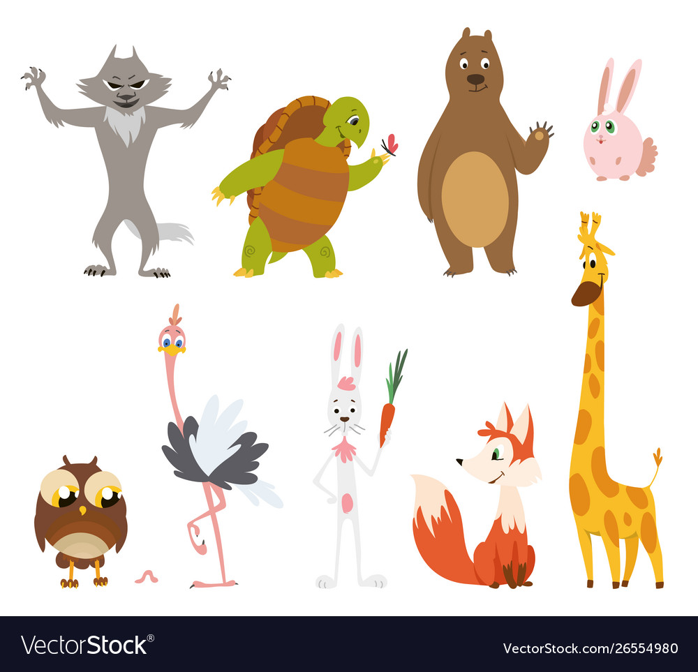 Cartoon wild animals in different poses on white