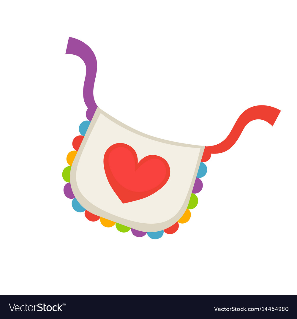 Child bib with heart vector image