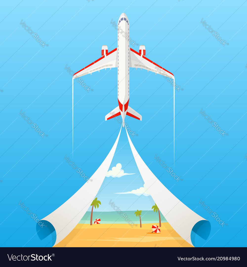 Flat banner on the theme of travel by airplane