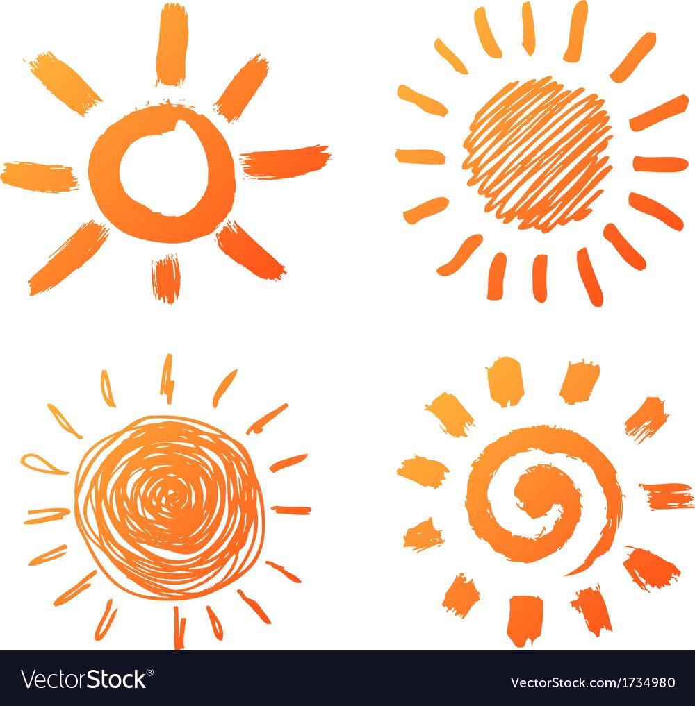 Hand drawn sun icons