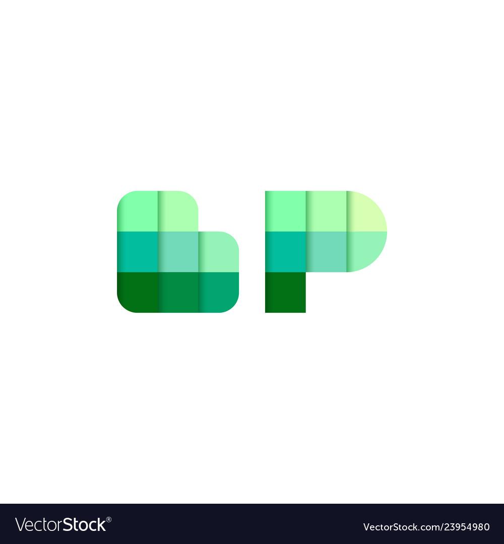 Initial letters bp b p pixel brick logo design