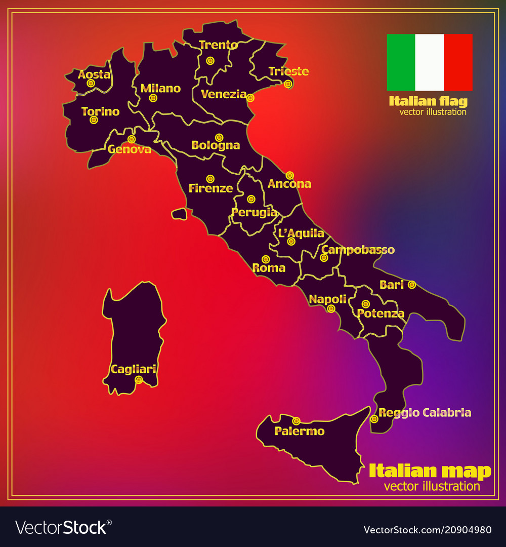 Italy Map With Italian Regions Royalty Free Vector Image