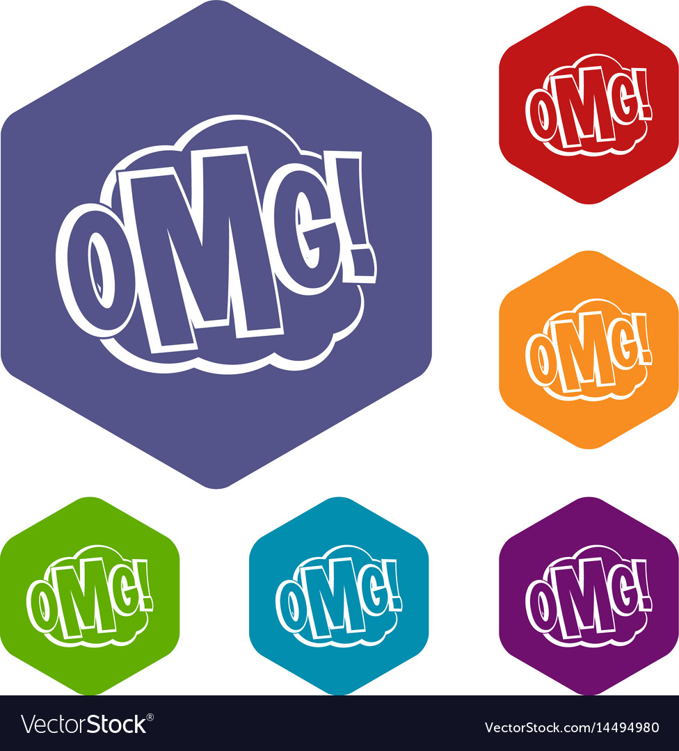 Omg comic text speech bubble icons set hexagon vector image