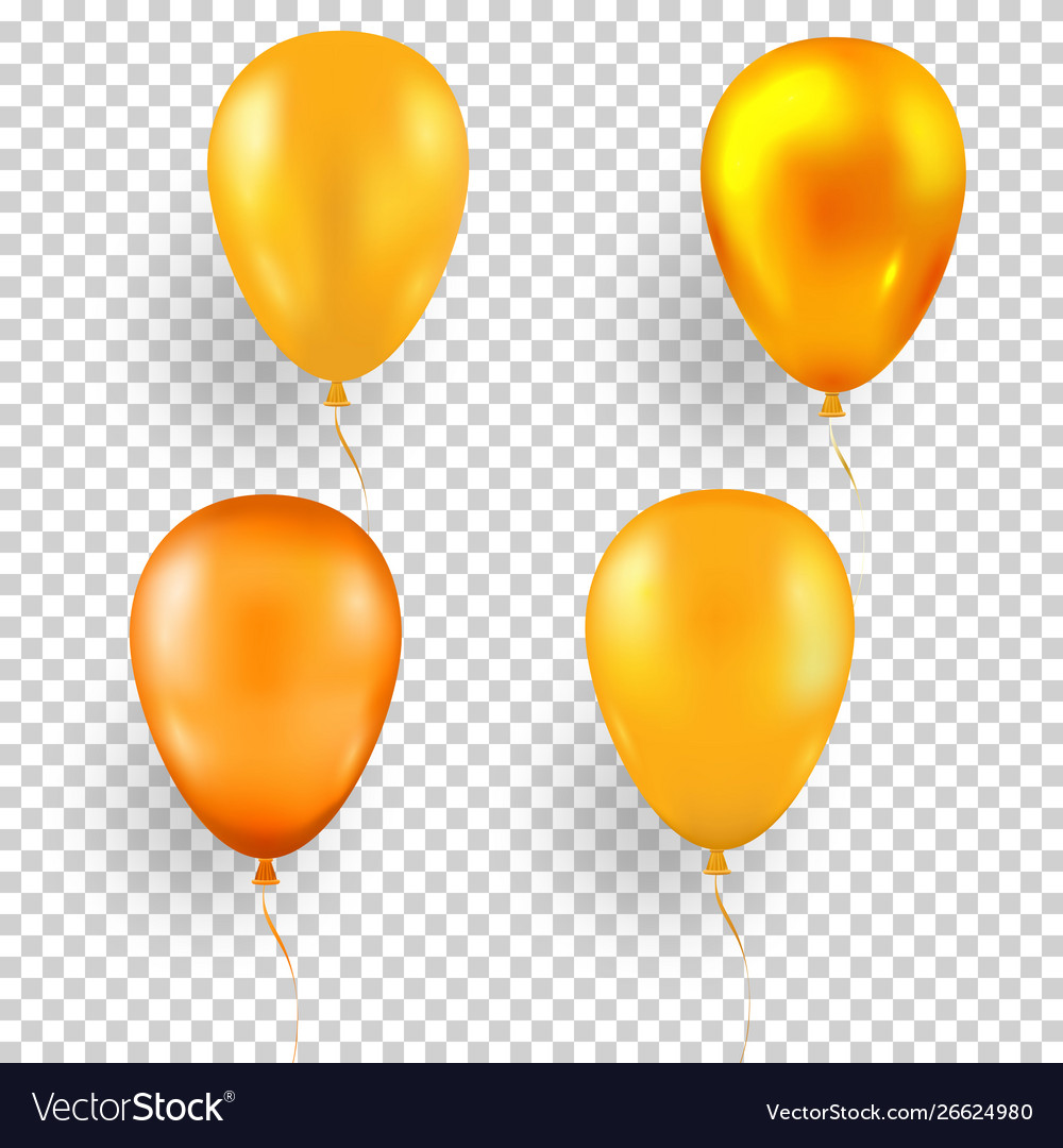Set Yellow Balloons In Different Shades And A Vector Image