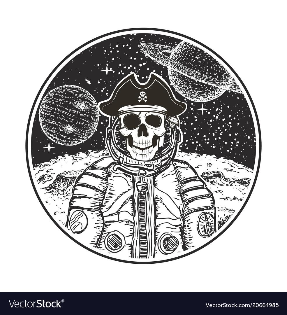 Astronaut space pirate modern t-shirt