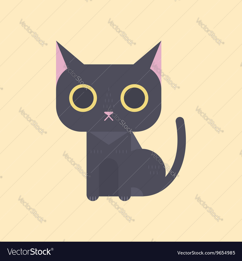 Cute black cat in flat style vector image
