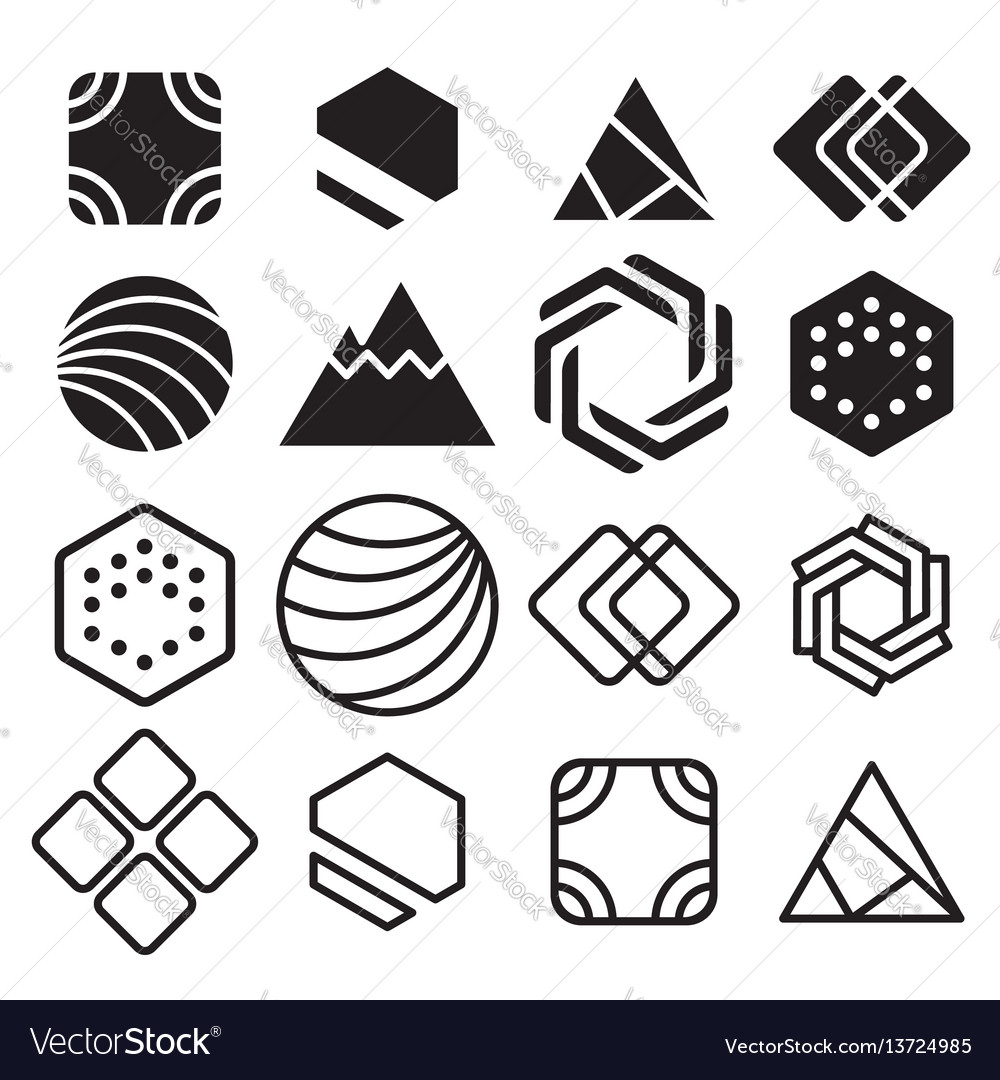Geometric abstract contour shapes with different
