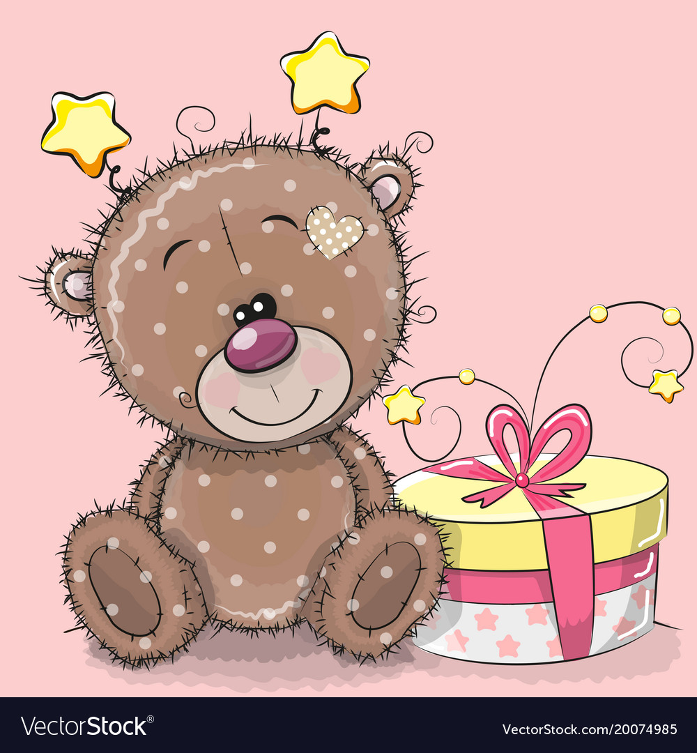Greeting Card Cute Teddy Bear With Gift Vector Image