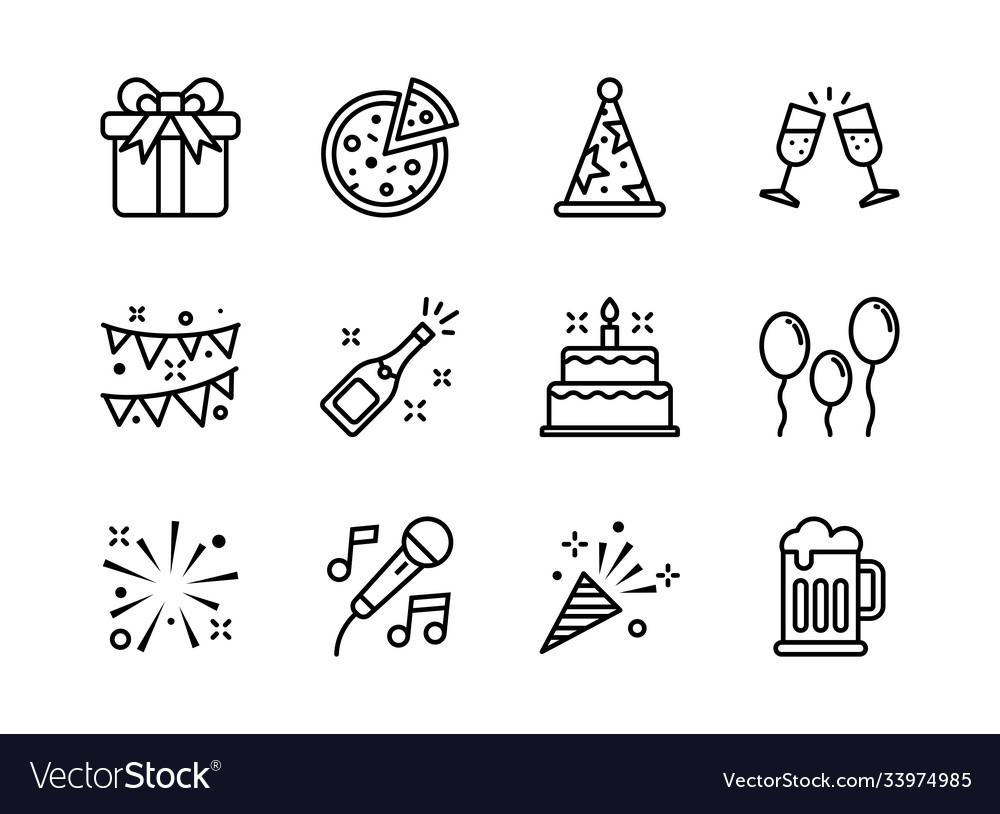 Party icon set outline style symbols for website