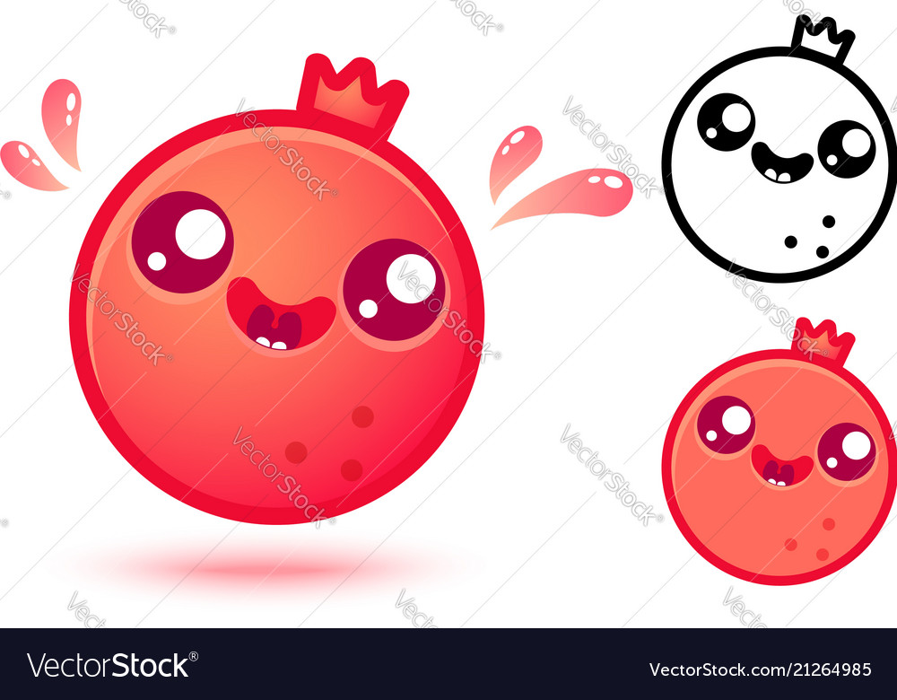 Pomegranate in kawaii style
