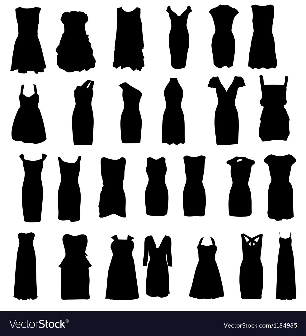Set of dresses silhouette isolated on white