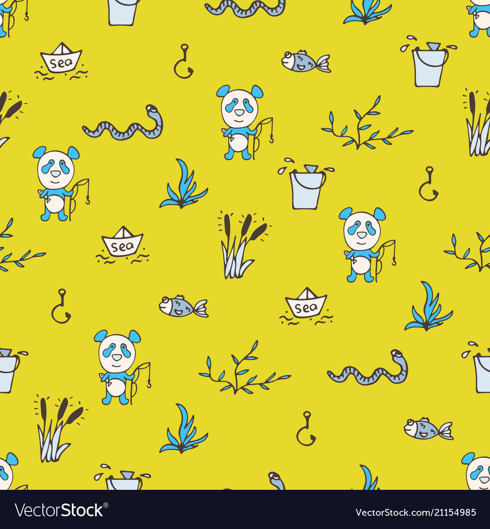 Yellow seamless pattern with the panda fishes