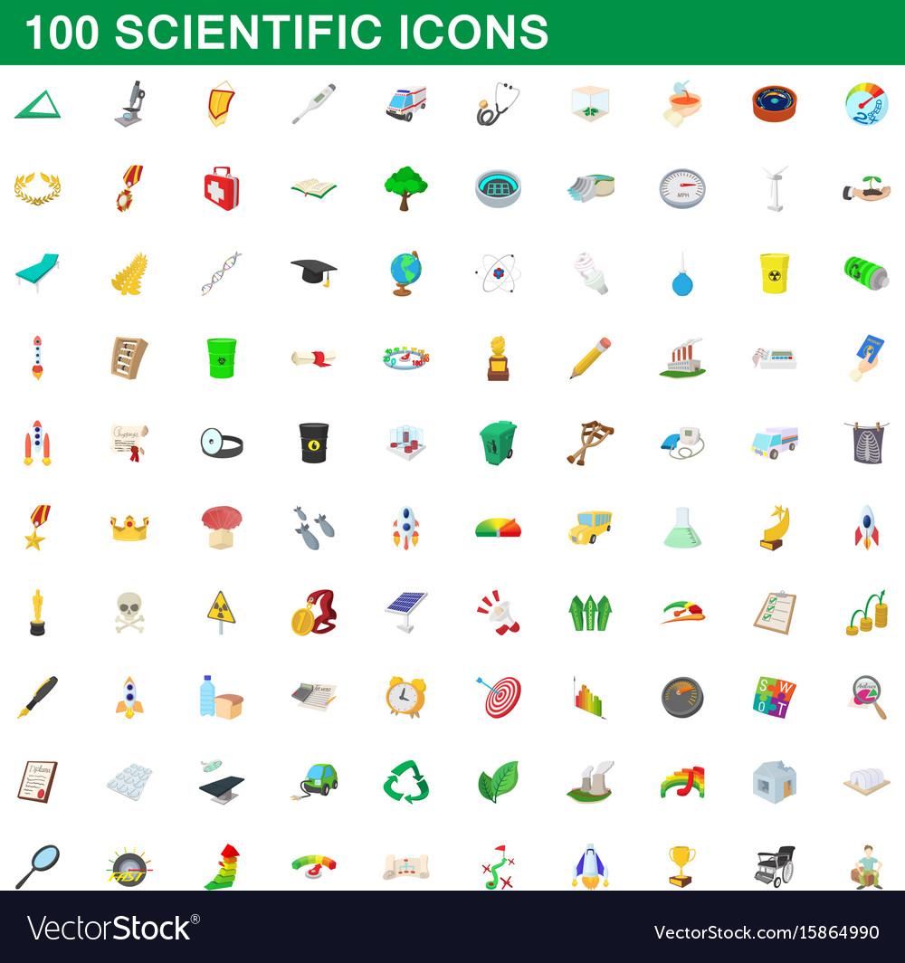 100 scientific icons set cartoon style