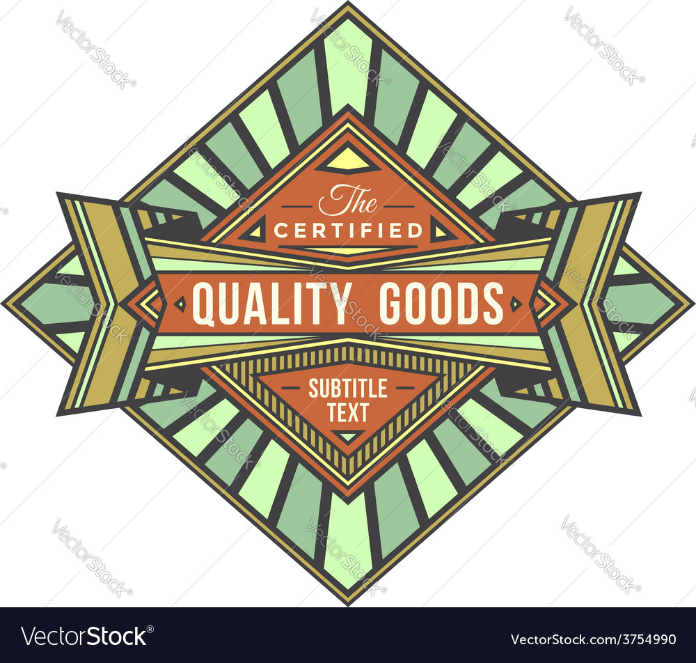 Abstract colored retro badge label