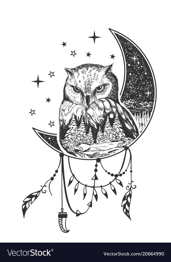 Boho Owl Tattoo Or T Shirt Print Design Royalty Free Vector