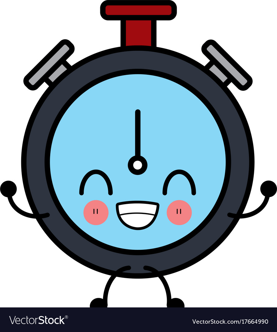 clock timer isolated cute kawaii cartoon vector image