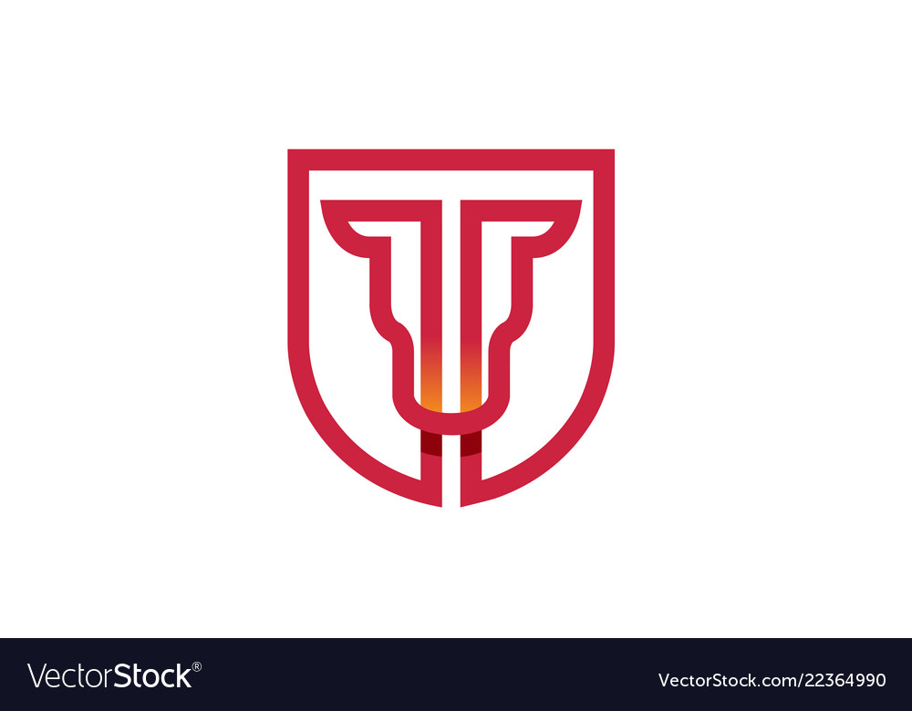 Creative abstract bull shield logo