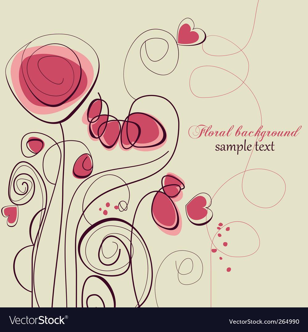 Floral love background vector image