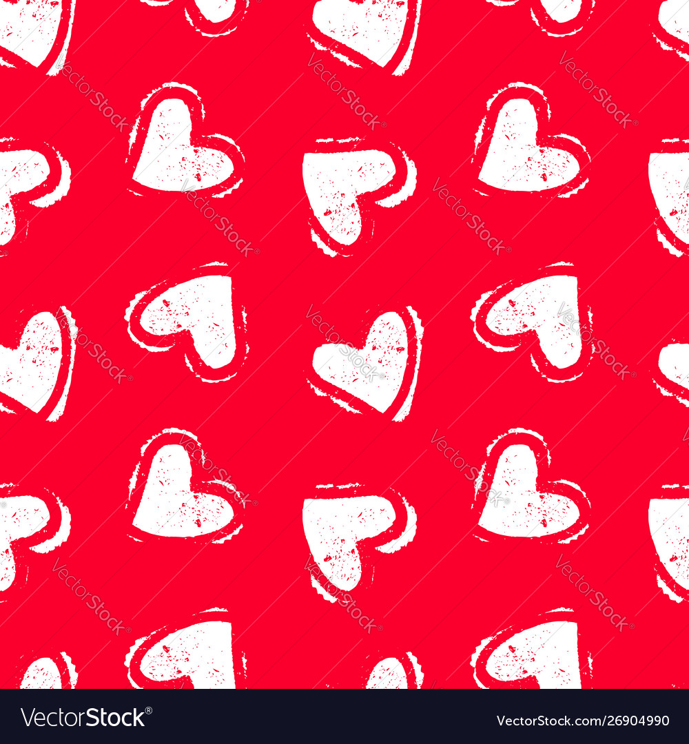 Hand drawn seamless red heart pattern valentines