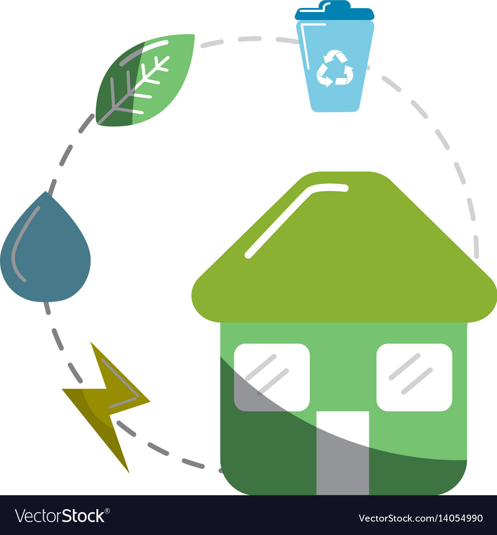 House with save energy water and recycle campaign