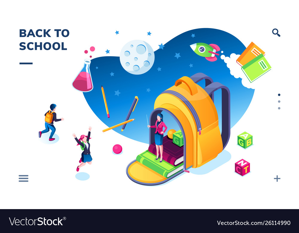 Isometric banner for school smartphone application