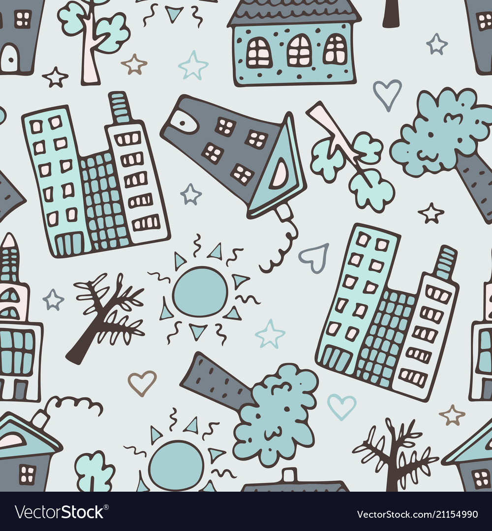 Light seamless pattern with skyscrapers houses