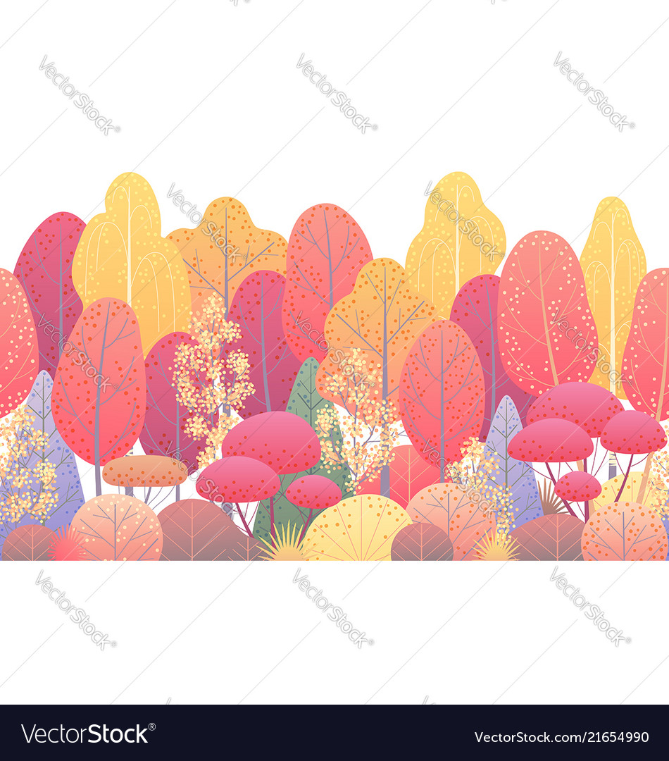 Line horizontal seamless border with autumn trees