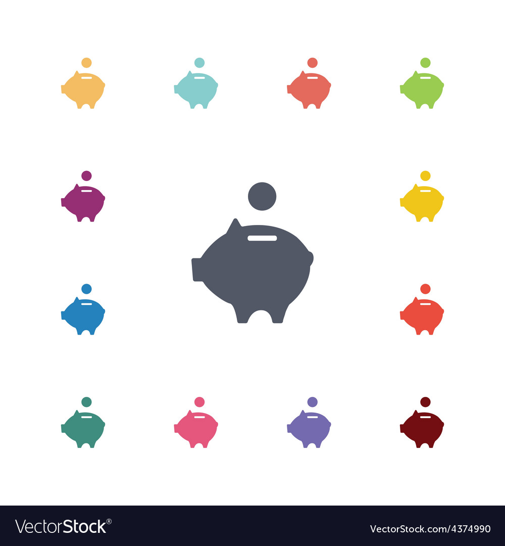Moneybox piggy flat icons set