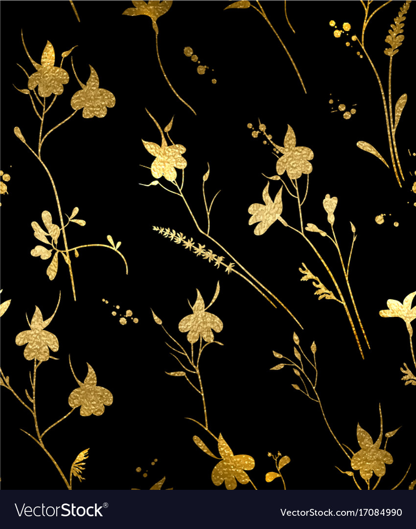 Seamless Gold Floral Pattern On A Black Background