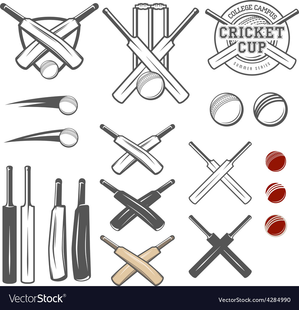 Set of cricket team emblem design elements