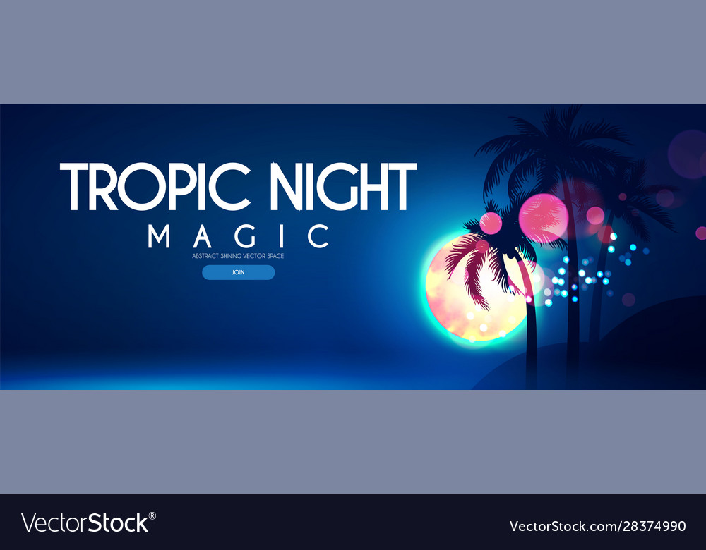 Tropic night beach party poster template