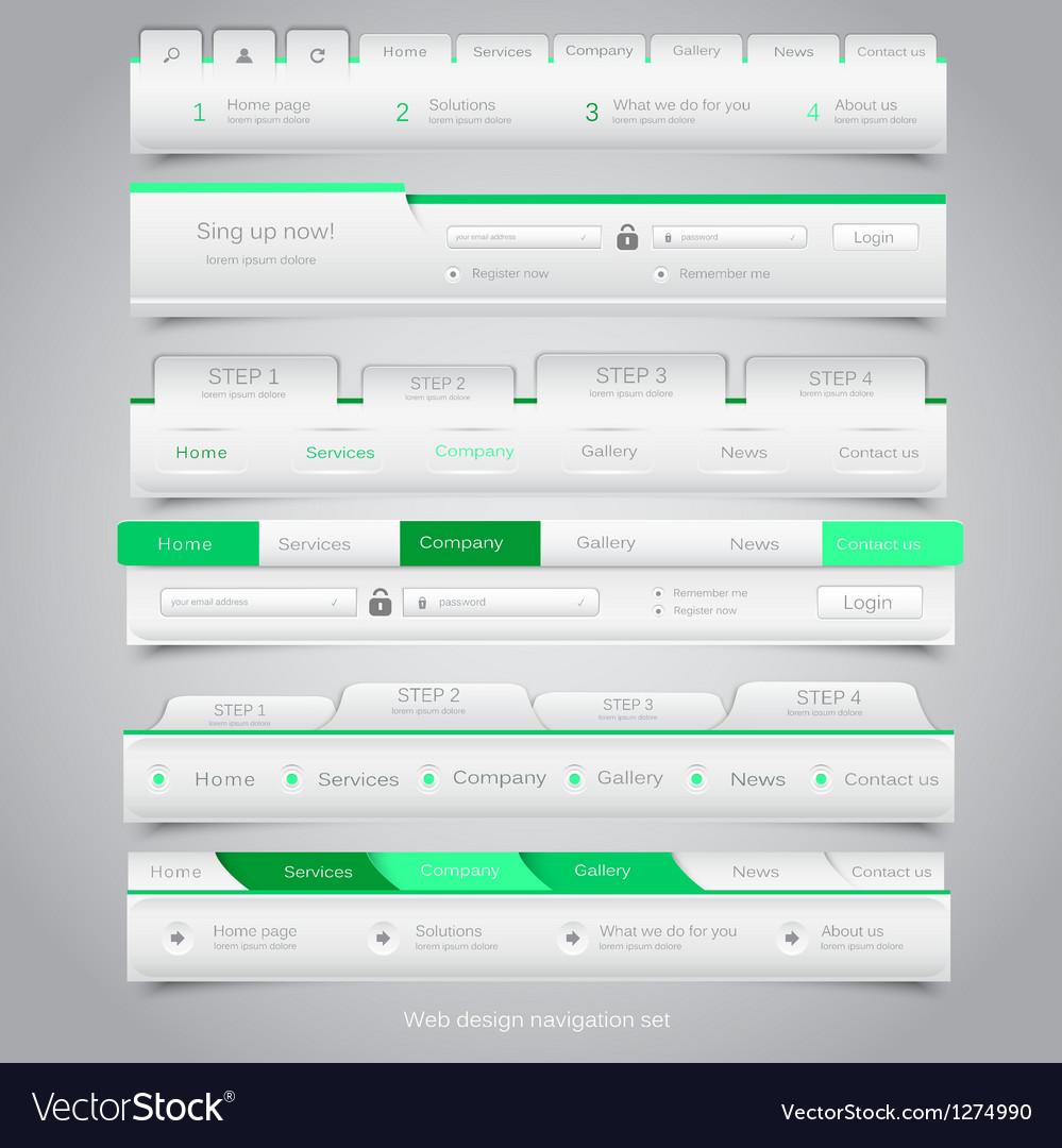 Web site navigation menu pack 25 vector image