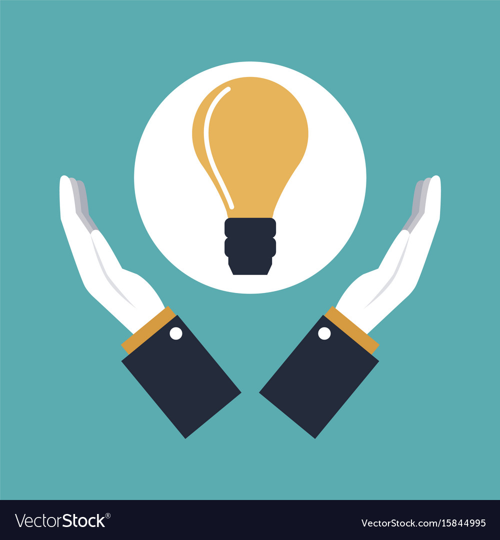 Color background hands holding a icon solution vector image