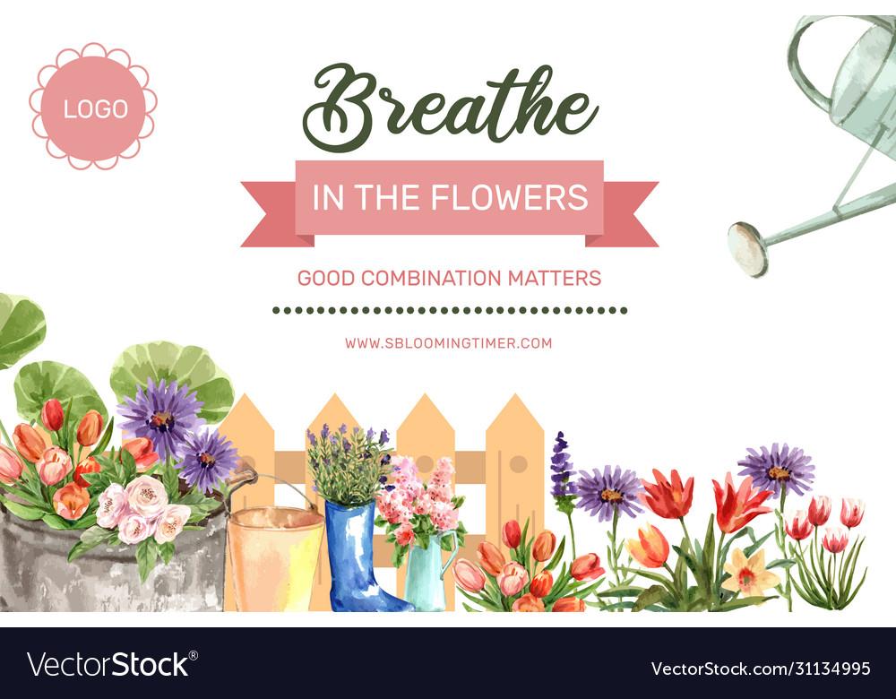 Flower garden frame design with tulip climbing